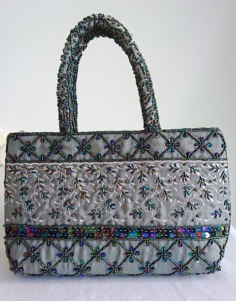 Stunning grey/silver heavily embroidered small hand bag