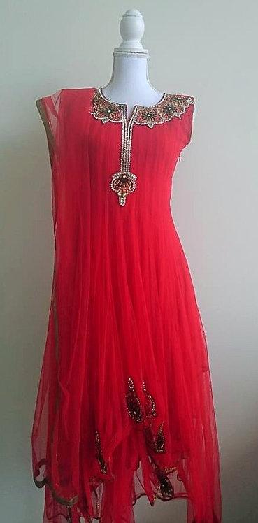 Gorgeous red designer 3 piece anarkali suit