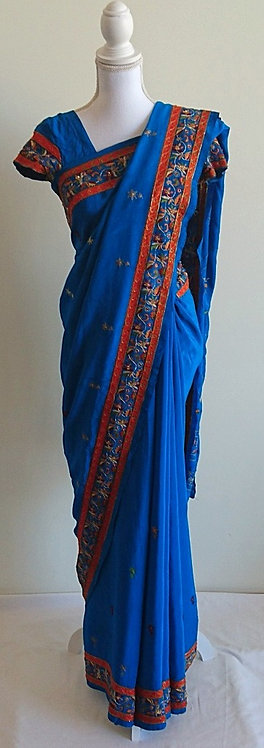 Beautiful royal blue sari with orange embroided border