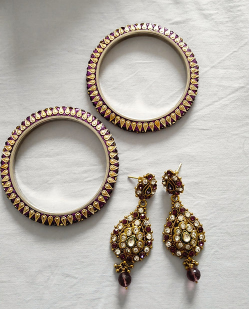 Gorgeous purple and gold earring and bangles set