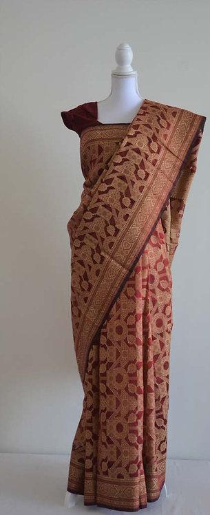Beautiful maroon and beige printed georgette sari