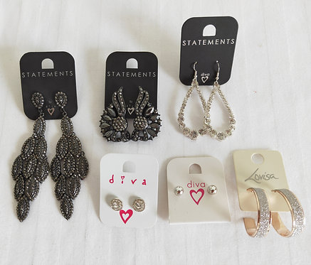 assorted black and silver earrings