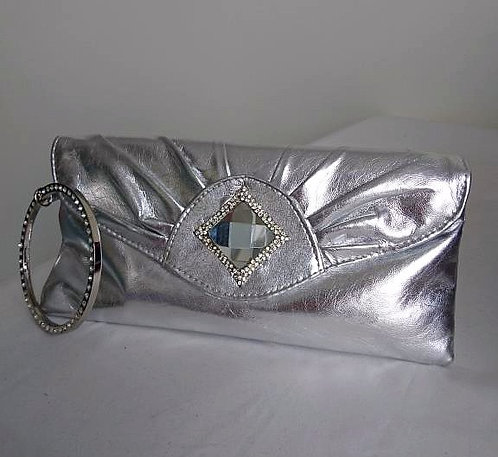 Stylish silver bangle clutch with diamond design