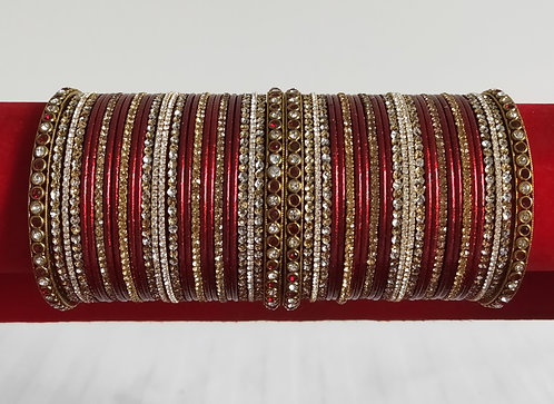 Beautiful two hand set of red, gold and silver diamonte bangles
