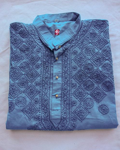 Stylish turquoise kurta top with white pyjama