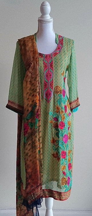 Stylish light green printed georgette suit with pink floral embroidery