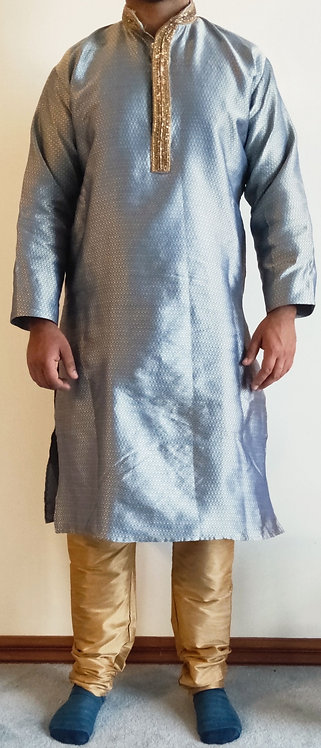 Stylish blue and gold two piece kurta pyjama set