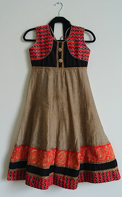 Stylish brown 3 piece anarkali suit with red and black chest design