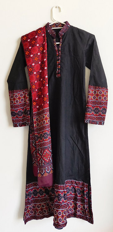Black and red patterned two piece suit