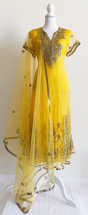 Gorgeous canary yellow two piece anarkali style suit with stonework