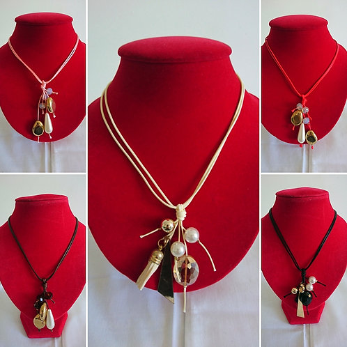 Assorted casual necklaces with chunky pearl assortments