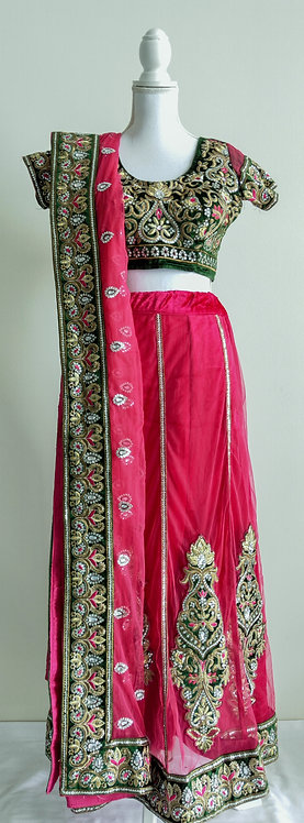 Gorgeous dark pink and green 3 piece lengha