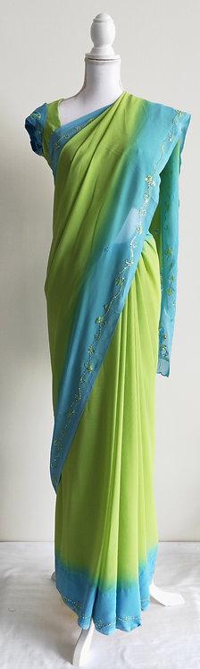 Light green and baby blue chiffon sari