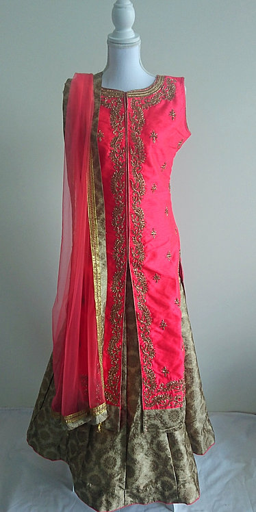 Stunning pink and gold 3 piece lengha with heavy gold diamonte work