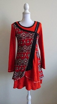 Woolen orange and black long top