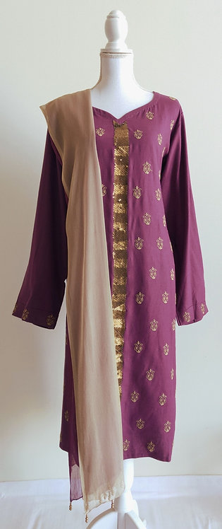Beautiful purple and gold three piece suit