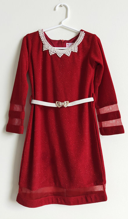 Stylish red shimmer dress with pearl belt