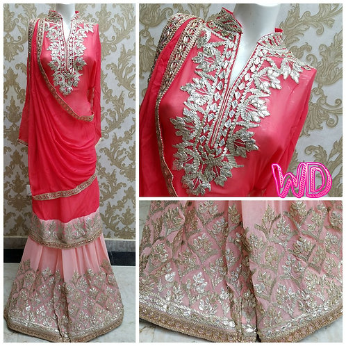 Beautiful georgette sharara suits with heavy gotta work available in 3 colours