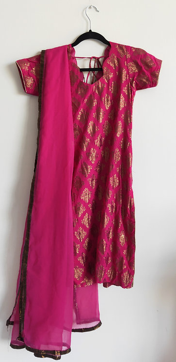 Gorgeous magenta and gold patterned three piece suit