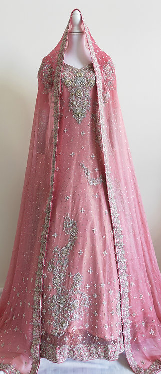 Gorgeous baby pink bridal gown with gold and silver thread embroidery