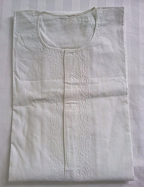 White cotton kurta top only with white embroidery