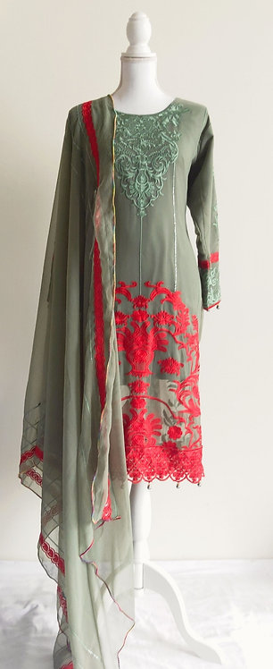 Gorgeous pakistani olive green and red floral embroided suit top with stall.