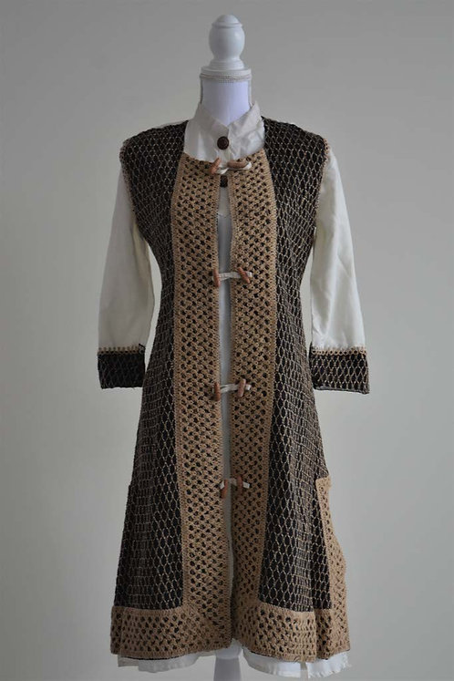 White salwar with black woolen overlay two piece suit
