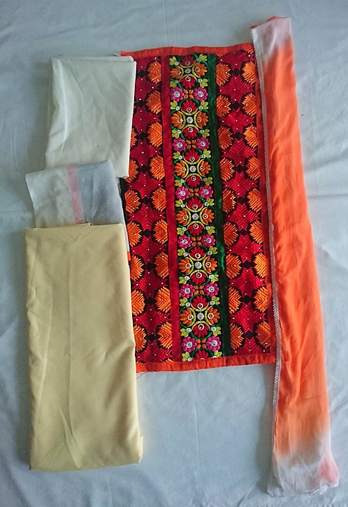 Colourful semi stitched phulkari patterned suit in red, orange and black