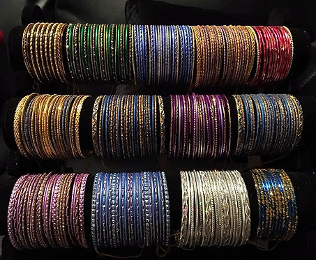 Assorted metal and stone bangles