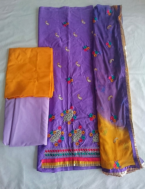 Purple unstitched suit fabric with purple stone work design and thread work