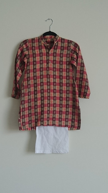 Cotton red and beige patterned kurta with white pyjama