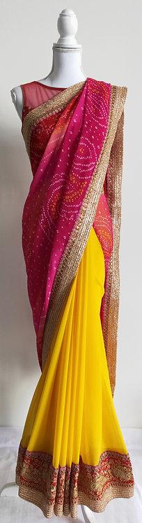 Beautiful bandhani print sari in pink and yellow contrasting