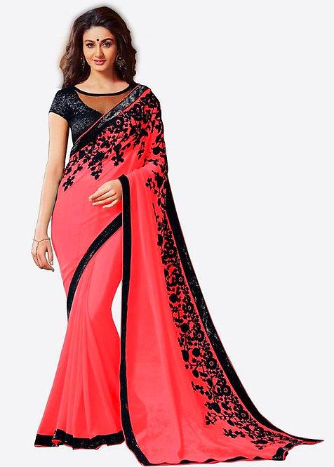 Stylish Pink sari with black sequin border and velvet flower detail