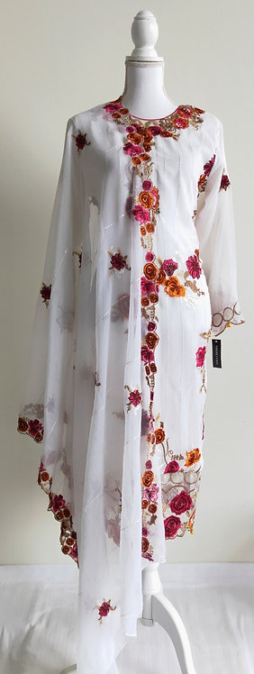 Beautiful designer two piece suit with mutlicoloured floral design