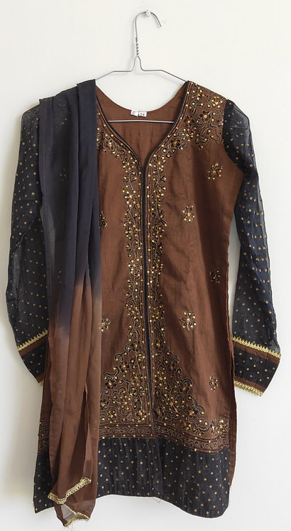 Stunning brown and black two piece suit with gold diamonte work
