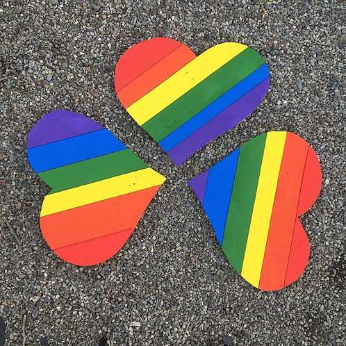 Reclaimed wood Rainbow Hearts