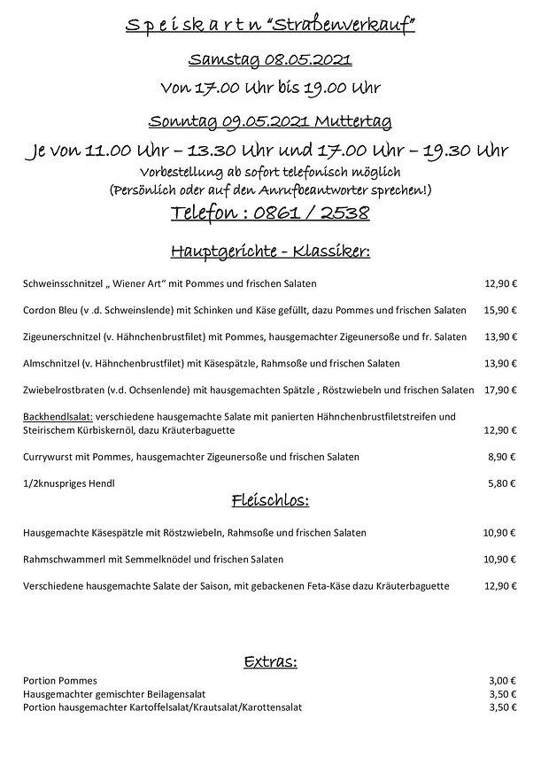 Speisekarte  Straßenverkauf 09.05.2021 M
