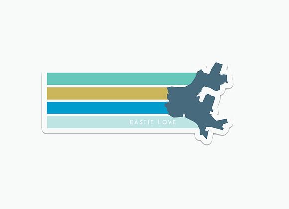 """Eastiechusetts Diecut Sticker 5"""" x 2.27"""""""