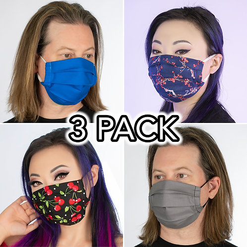 3 PACK Premium 100% Cotton Face Masks, Washable, 2 Layers, Filter Pocket