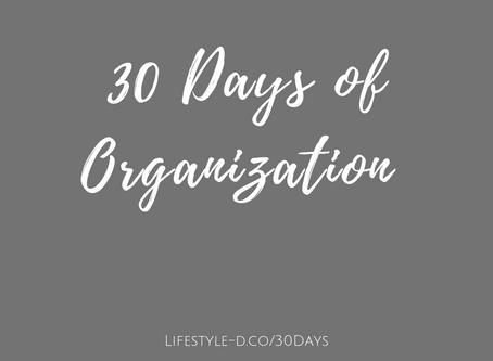 30 Days of Organization - Starts Today!