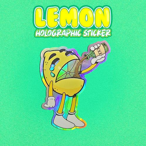 Pour Up -Lemon Holographic Sticker