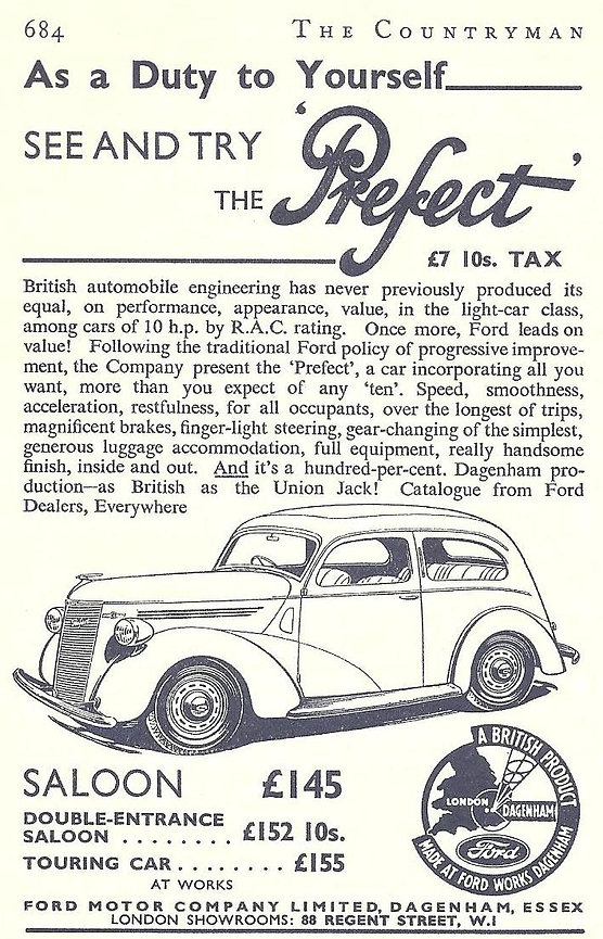 Ford Prefect E93a Advert, Ford Prefect Advert