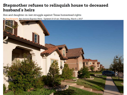 Stepmother refuses to relinquish house to deceased husband's heirs