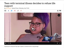 Teen with terminal illness decides to refuse life support
