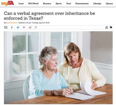 Can a verbal agreement over inheritance be enforced in Texas?