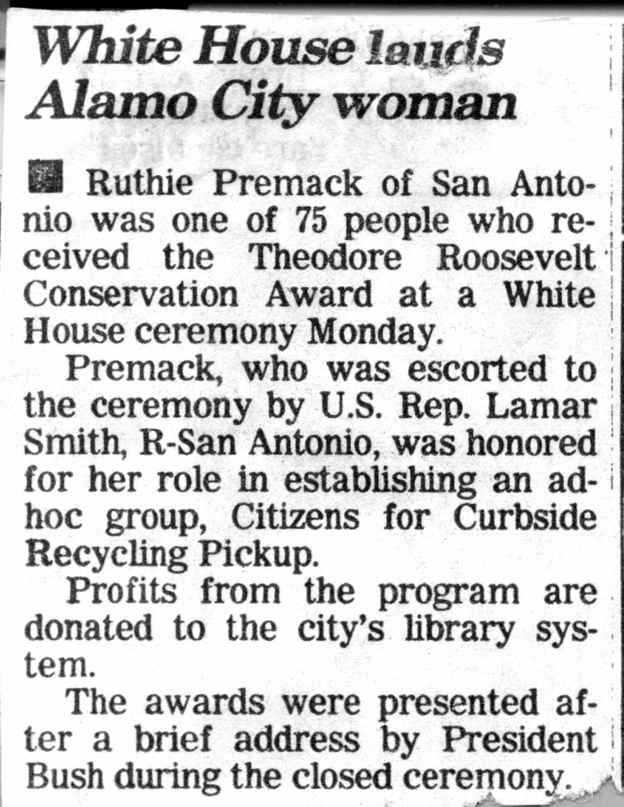 ruthie recycling roosevelt award clippin