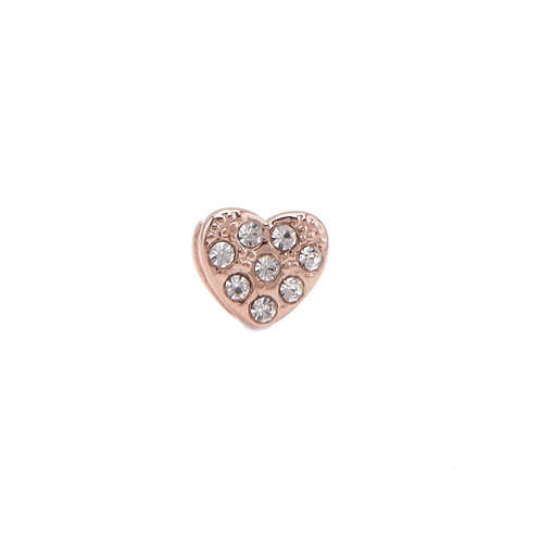 Rose Taşlı Kalp-8mm