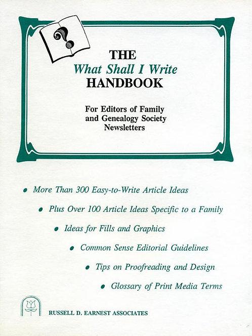 The What Shall I write Handbook - Corinne Earnest