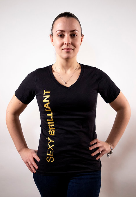 SEXY BRILLIANT 100% ORGANIC COTTON BLACK/GOLD T-SHIRT