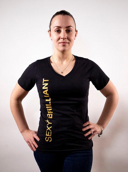 SEXY BRILLIANT 100% ORGANIC COTTON BLACK/GOLD T-SHIRT
